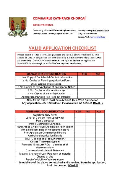 Valid Application Checklist front page preview