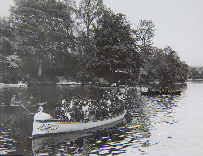 Boats on the River Lee during the International Exhibition, looking towards Sundays Well 1902-03